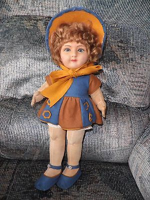"Antique Doll - (USA $ 35% less)Early Chad Valley Felt Doll - Exc. Cond. 16"" Tall"