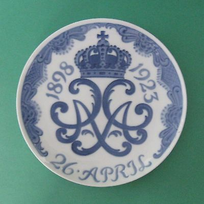 ROYAL COPENHAGEN Porcelain Antique 1923 KING WEDDING 25 ANNIVERSARY Memory PLATE