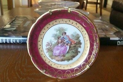 Limoges France 12Cm Dia Ornamental Plate With Wire Stand