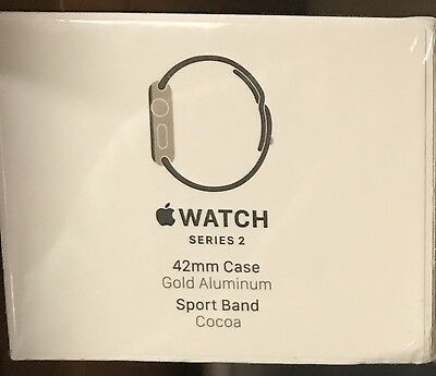 New Apple Watch Series 2 42mm Gold Aluminum Case Cocoa Sport Band (MNPN2LL/A)