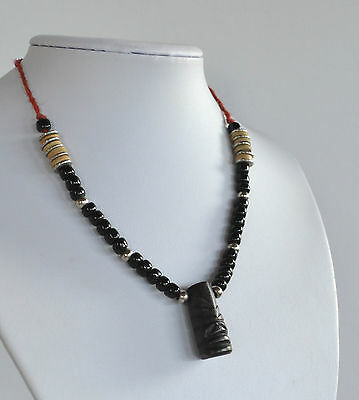 vintage MEXICAN artisan necklace carved black coral or wood Maya face pendant