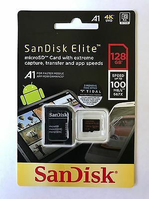 SanDisk Elite Extreme Plus microSDXC Card 128Gb 100Mb/s 4K V30 U3 A1 +SD adapter