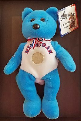 Brand New  2004 Michigan Limited Edition State Bears By Pish Toys #ed W/ Coin