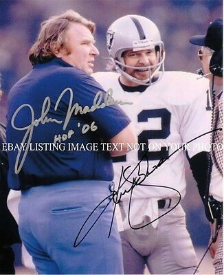 John Madden And Ken Kenny Stabler Autographed Auto 8X10 Rp Photo Oakland Raiders
