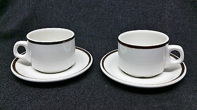 Royal Doulton England Country Club Hotelware Steelite Pair of Cup and Saucers