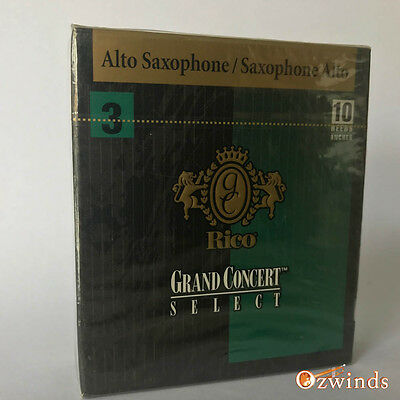 Rico Grand Concert Select Alto Saxophone Reeds, Box of 10  Strength 3