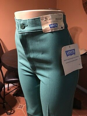 NWT Vintage Levi's Slacks high waist USA bell size 10 1978, Green ,coachella