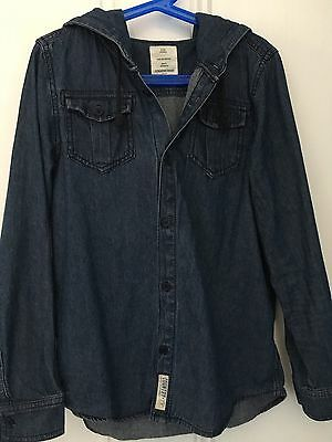 Country Road Denim Shirt with Hood - Boys Size 10 - Blue Denim