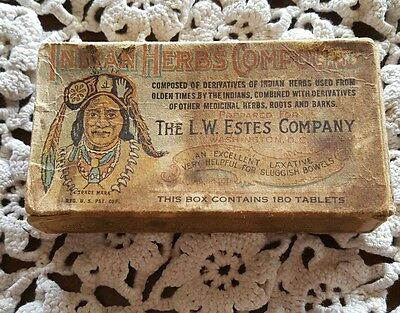 Antique ♢ Indian Herb Compound Medicine Box ♢  Apothecary Drug Tablet Pill Box