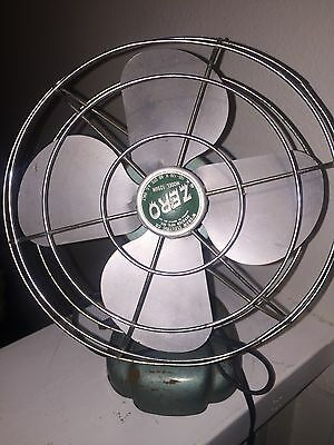 Antique Vintage Table Electric Fan 10 1/2 Tall Zero 1250R Art Deco Metal Works