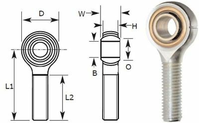 16mm Male Rod End Bearing, Right Hand Thread M16X2.00 Rose Joint, Bronze Liner