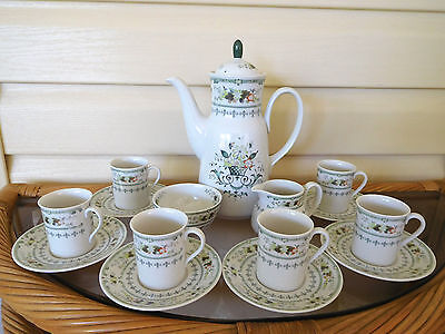 "Royal Doulton ""Provencal"" 16 Piece Coffee Set 1034 England Mint Condition !"
