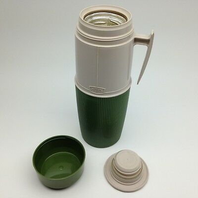 Vintage Wide Mouth Thermos #6402 Green Off White Cream
