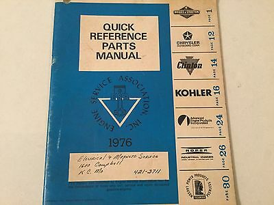 1976 ENGINE QUICK REFERENCE PARTS MANUAL, BRIGGS, KOHLER, CLINTON, Chrysler