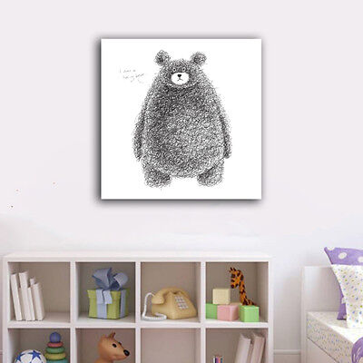 A Black bear Stretched Canvas Print Framed Wall Art Home Decor Painting Gift