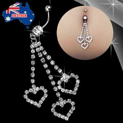 Hot 3 Rhinestone Heart Dangle Barbell Belly Button Navel Ring Bar Body Piercing