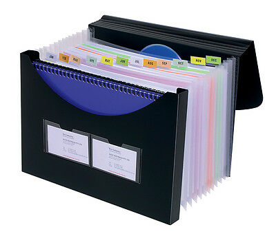 Marbig Expanding File 12 Pockets With Storage Box Black