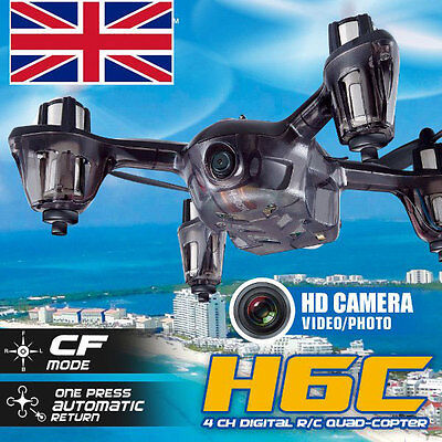 UK Stock H6C Headless 4-CH 2.4G 6 Axis RC Quadcopter UFO with 2.0MP Camera Red