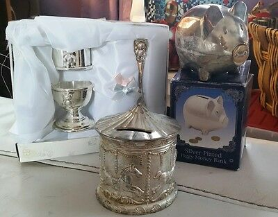 Silver Plated Money Box Piggy Bank Baby Christening Gift Egg Cup Spoon set bank