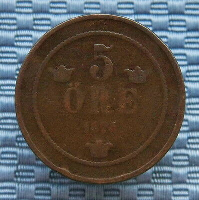 Sweden 1874 5 Ore Bronze Coin.