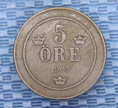 Sweden 1903 5 Ore Bronze Coin