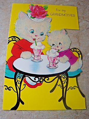 Vintage Signed Used Norcross Flocked Kittens Mother's Day Card
