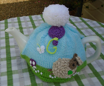 Hand Knitted Fun Tea Cosy For A Medium Teapot Crochet Sheep Balloon And Pompom