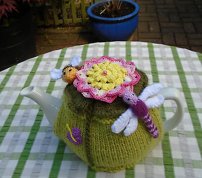 Hand Knitted Dragonfly Bee And Water Lily Tea Cosy For A  Medium Teapot