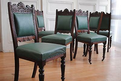 Set 6 Antique Late Victorian Mahogany Dining Chairs Lovely Carving
