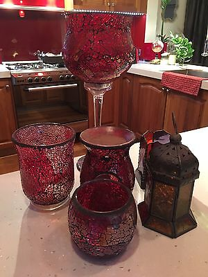Collection Of Red Vintage Candle Holders