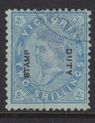"""VICTORIA 1885 2/- Blue OPTED """"STAMP DUTY""""  CTO USED SG 307 (CJ4)"""