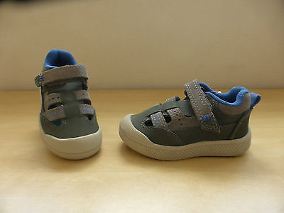BNWT Marks & Spencer Boys Grey/Blue Leather Summer Trainers 4 infant
