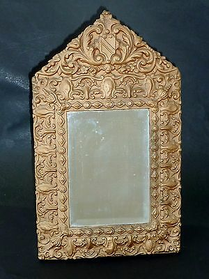 RARE rustic PRESSED TIN + wood VICTORIAN MIRROR suit FRENCH decor SHABBY CHIC