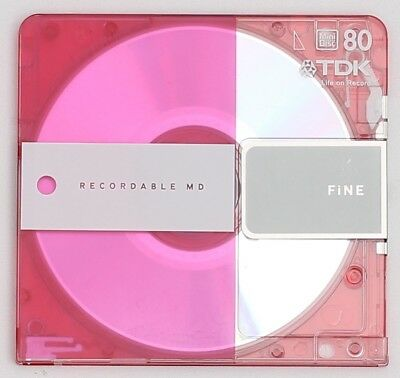 Genuine TDK 'FINE' Pink Recordable MiniDisc 80 Minutes w/ Case
