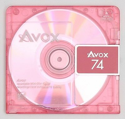Genuine AVOX '74' Pink Translucent Recordable MiniDisc 74 Minutes w/ Case