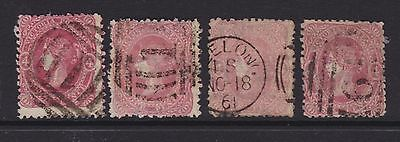 Victoria 1860-62 4D Red Beaded Oval X4 Variations Fine Used (Cm84)