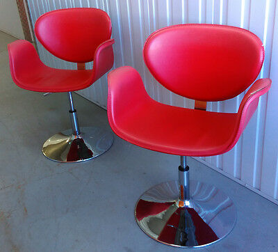 Retro Swivel Chairs - Pair of Replica Pierre Paulin Little Tulip Chairs