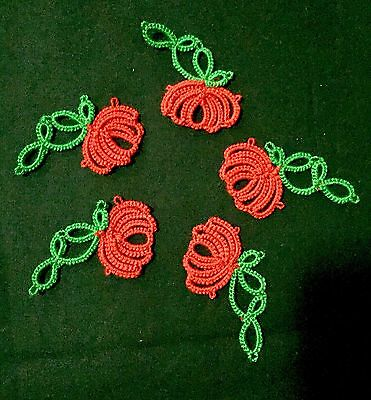 Set of 5 Tatted Flowers Tatting Lace Appliques