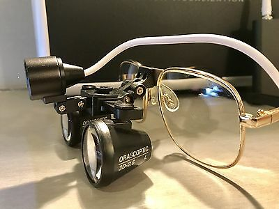 ORASCOPTIC Flip UP Loupes 2.6X MAGNIFICATION + LED Headlight Battery and Charger