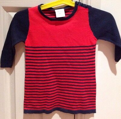 Gorgous Red & Navy Baby Girl Seed Dress Nwot Size 3-6 Months