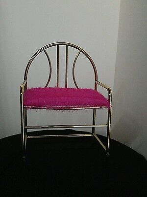 Metal vanity stool Chair Vintage Hollywood Regency  Bench Reupholstered