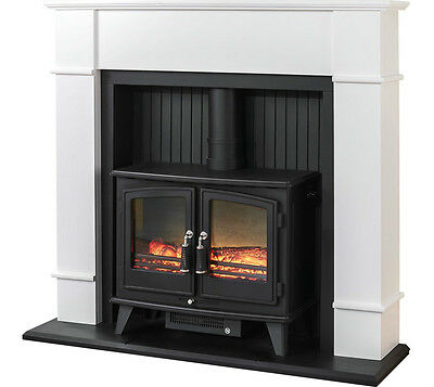 Electric Black Stove White Modern Surround Large Flame Log Fire Fireplace Suite