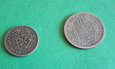 18.6.17# Portugal lot of 2 coins 50/100 reis 1900 D Carlos I