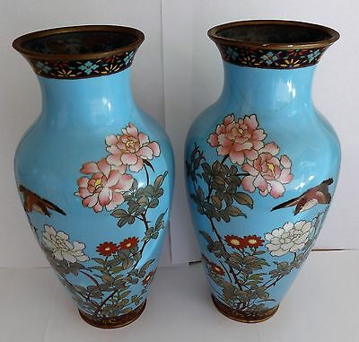Pair of antique Japanese Cloisonne vases ( damaged ).