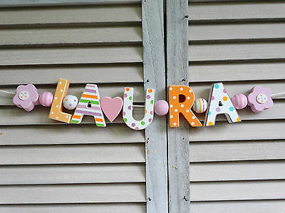 Laura Wooden Name Sign Wall Letters Door Decoration Baby Shower Nursery Shabby