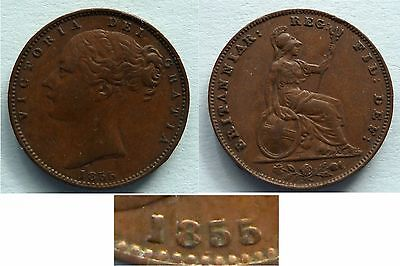 VICTORIA FARTHING 1855 WW RAISED LotCOLL309