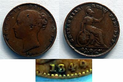 VICTORIA FARTHING 1849 LotCOLL303