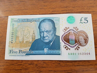 AA01  £5 pound note fiver AA 01  low serial number polymer £5.00