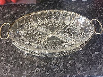 Silver Plated Tray With Serving Dish E.P Steel