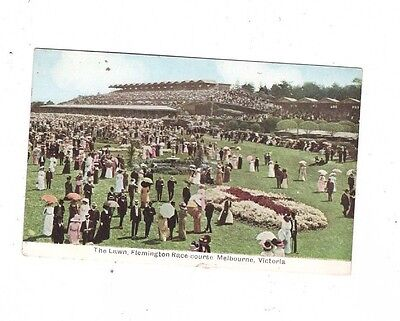 Australia VICTORIA Postcard,HORSE RACING, FLEMINGTON RACE COURSE LAWN